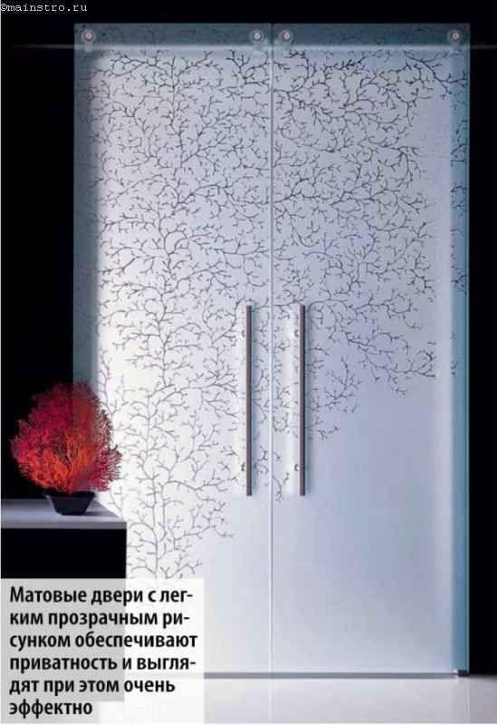 Матовые двери с прозрачным рисунком