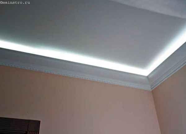 Как осуществляется подсветка потолка из-под багета и из-под ниши