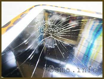 Фото трещин разбитого стекла планшета MonsterPad