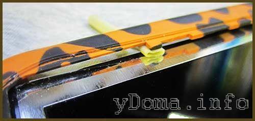 Фото расширения отверстия для шлейфа с помощью кембрика