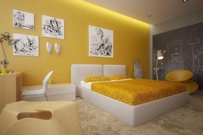 Желтые обои смотрятся в любом помещении тепло и позитивно