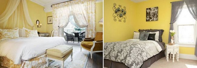 Светло-желтые обои превосходно смотрятся в спальне