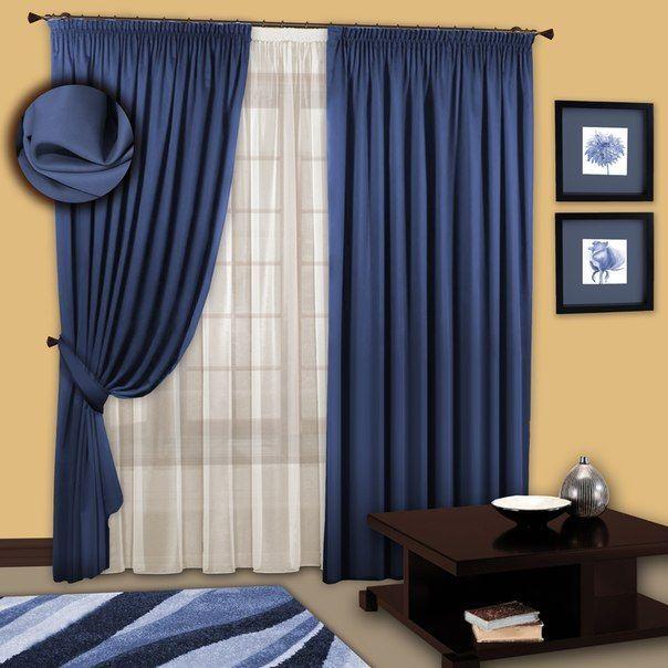 Красивые синие шторы как основа уникального интерьера