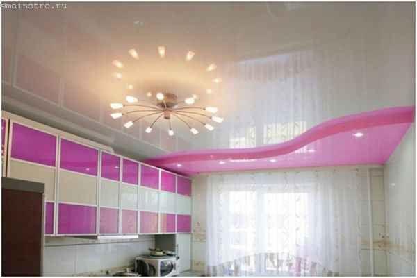 Натяжные потолки для кухни с люстрой