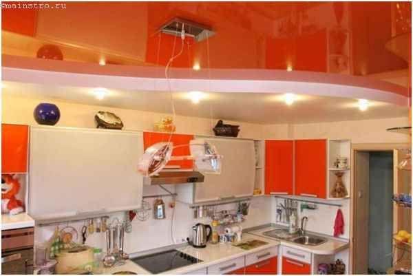 Разно фактурные натяжные потолки для кухни