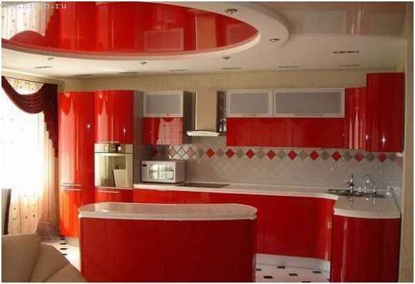 Овальный натяжной потолок на кухне