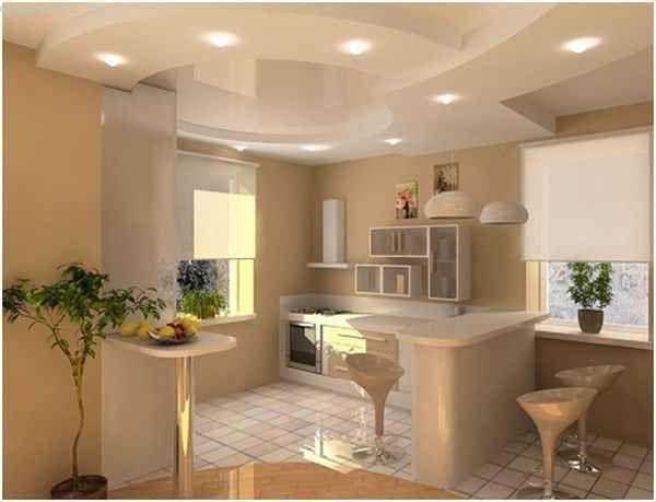 Натяжные потолки для кухни в тон к общей расцветке