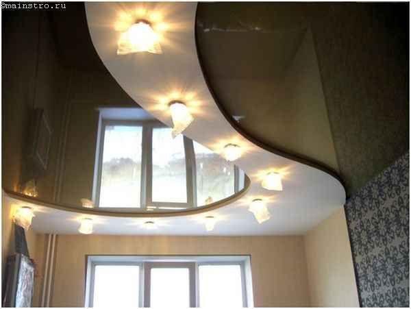 Двухцветные натяжные потолки для кухни
