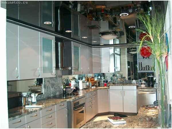 Черные пленочные натяжные потолки для кухни