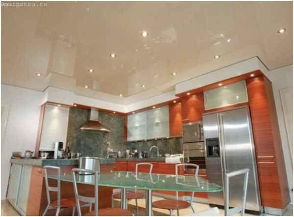 Натяжные потолки для кухни в один уровень