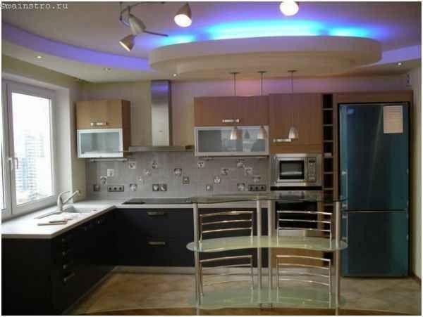 Натяжные потолки для кухни с неоновой подсветкой