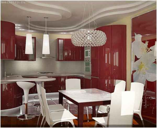 Криволинейные натяжные потолки для кухни