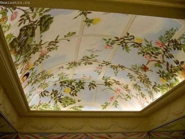 Натяжные потолки в зале с фото печатью