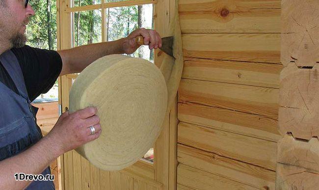 Основа или каркас для утеплителя дома из бруса