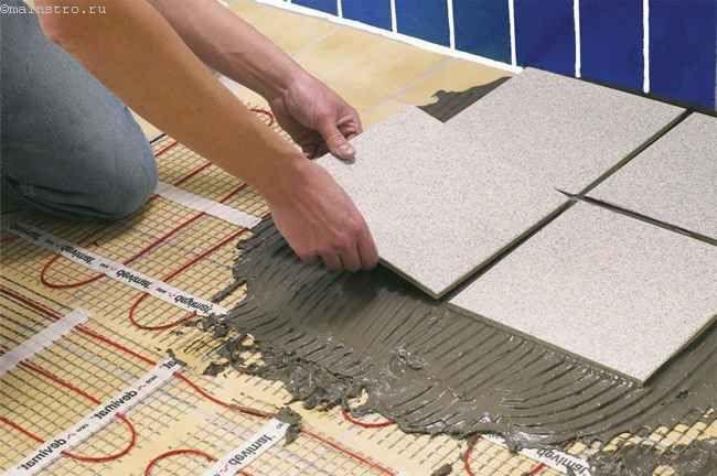 Укладка плитки на электрические теплые полы