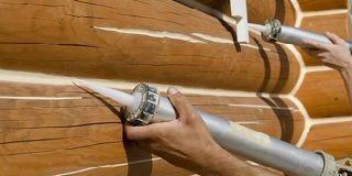 Утепление швов герметиком в доме из оцилиндрованного бруса