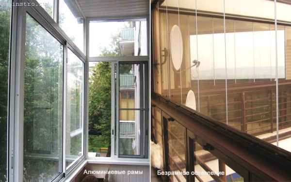 Фото рамного и безрамного остекления балконов или лоджий