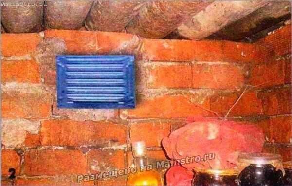 Входное отверстие вытяжного воздуховода закрыто жалюзийной решёткой